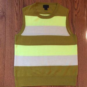 J crew stripe Italian cashmere sweater vest EUC M
